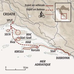 Circuit carte Croatie : De Split à Dubrovnik à bicyclette