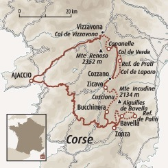 Circuit carte France : Les sentiers du GR20 sud (version confort)