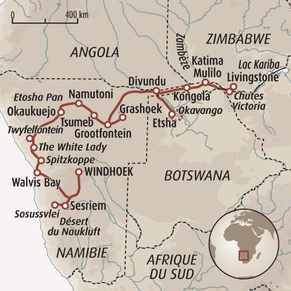Favori Traversée de la Namibie aux chutes Victoria - Voyage Namibie  KK39