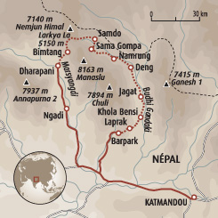 Circuit carte Népal : Grand tour du Manaslu