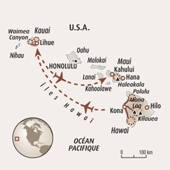 Circuit carte Etats-Unis : Hawaï, entre jungle et volcans