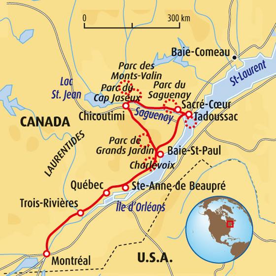 Carte Canada Chicoutimi.Voyage Quebec Randonnee Saguenay Randonnee Canada