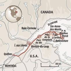 Circuit carte Canada : Le long des Appalaches à travers la Gaspésie