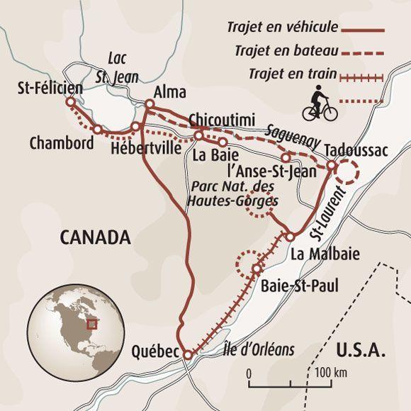 Carte Canada Chicoutimi.Sejour Canada Randonnee A Velo Veloroute Des Bleuets
