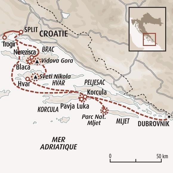 Circuit Carte Croatie Sur Les Chemins Des Iles Dalmates