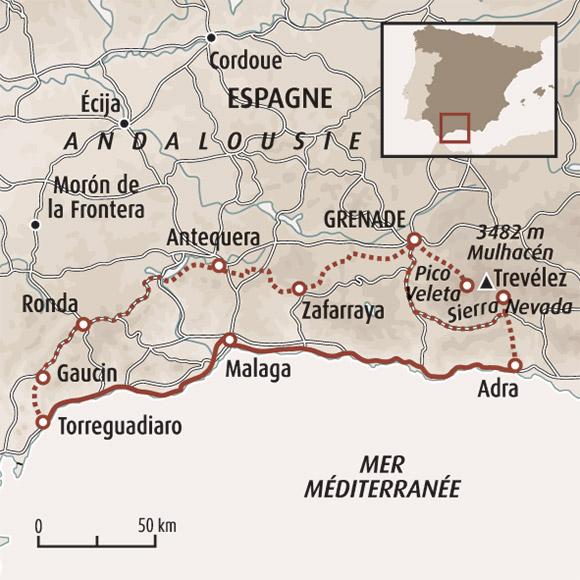 Andalousie Carte Didentite.Circuit Velo En Espagne L Andalousie A Velo