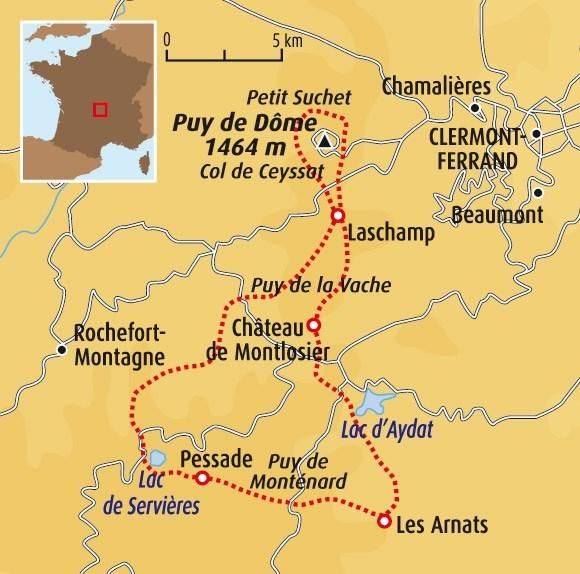 Circuit Carte France Dcouverte Des Volcans DAuvergne Activits Randonne Avec Ne