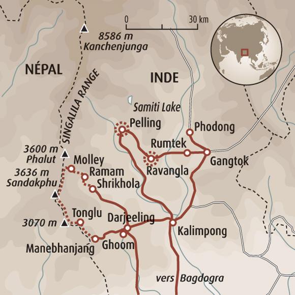 Carte Inde Sikkim.Trek Inde Singalila Trek