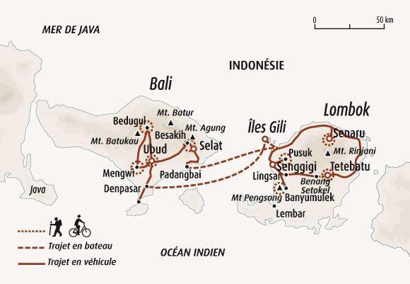 Circuit Carte Indonesie De Bali Aux Iles Gili