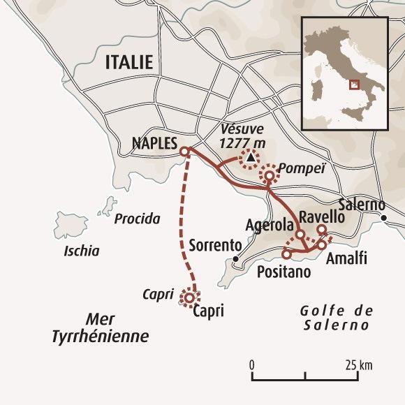 Circuit Carte Italie Vesuve Capri Et La Cote Amalfitaine