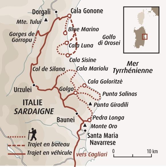 Carte Italie Et Sardaigne.Trek Selvaggio Blu Randonnee Sardaigne