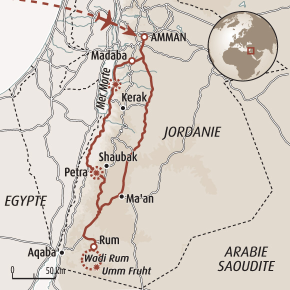 Carte Jordanie Petra.Vie Bedouine Du Wadi Rum A Petra