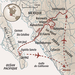 Circuit carte Mexique : L'Ouest mexicain : canyons et Basse-Californie
