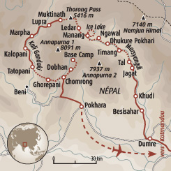 Circuit carte Népal : Grand tour des Annapurnas