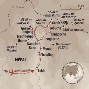 Circuit carte Népal : Gokyo et Everest
