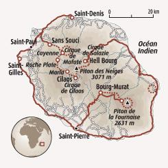Circuit carte Réunion : Du cœur de Mafate au Piton de la Fournaise