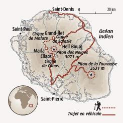 Circuit carte Réunion : La Réunion, entre cirques et volcan