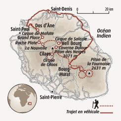 Circuit carte Réunion : Traversée intégrale de l'île de la Réunion