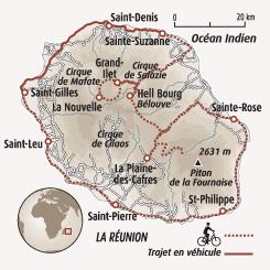 Circuit carte Réunion : Découverte de l'île intense en vélo électrique