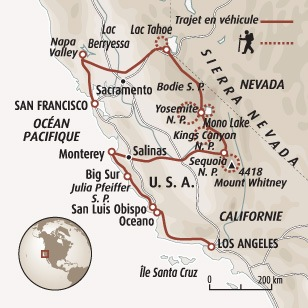 Circuit carte Etats-Unis : Highway 1 : de San Francisco à Los Angeles