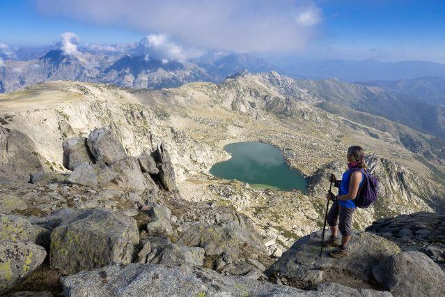 Le lac Bastani vu depuis le Mont Renoso - GR 20 - Haute-Corse - France