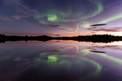 Du vert dans le ciel : aurores boréales de Laponie