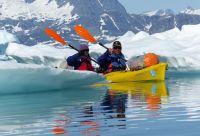 Kayak au Groenland au milieu des icebergs