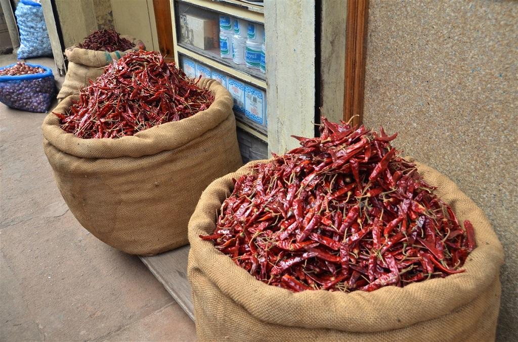 Sacs de piments - Cochin - Kerala - Inde