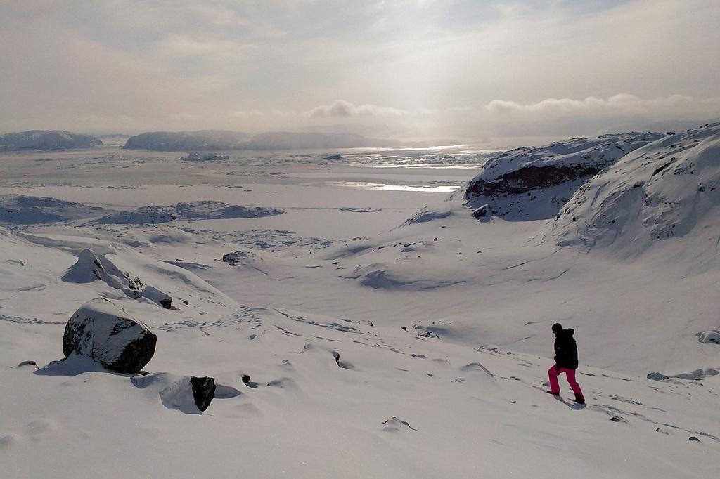Sortie en raquettes - Baie de Disko en hiver, Groenland