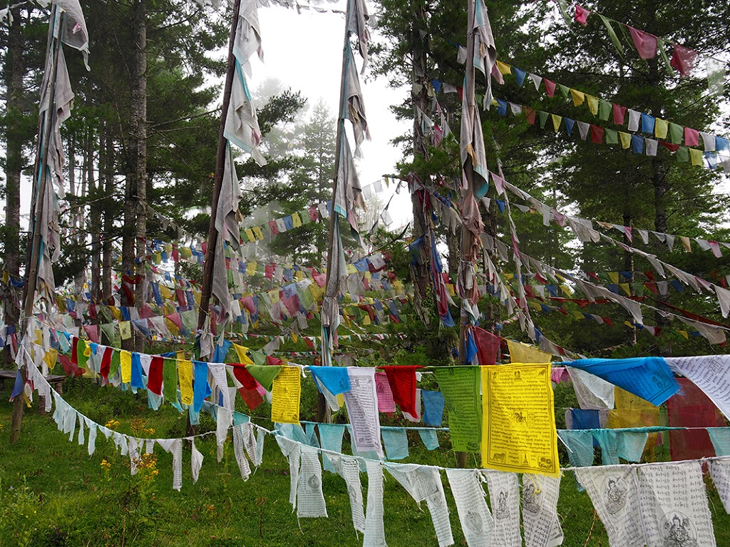 Drapeaux à prières, Kiki La pass, Jakar, Vallée de Bhumthang - ©Thomas Callens
