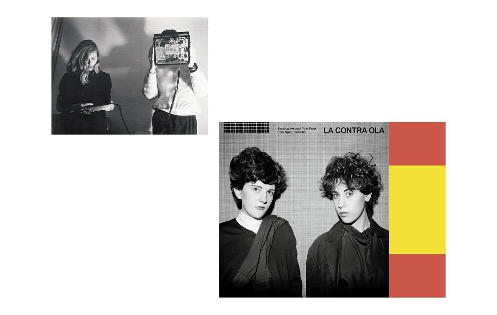À gauche : le groupe Diseño Corbusier, créateur du label underground Auxilio de Cientos entre 1982 et 1988 ©Diseño Corbusier. À droite : pochette de la compilation La Contra Ola, 2018, qui retrace le mouvement post-punk électronique en Espagne, entre 1980 et 1986. - ©Les Disques Bongo Joe