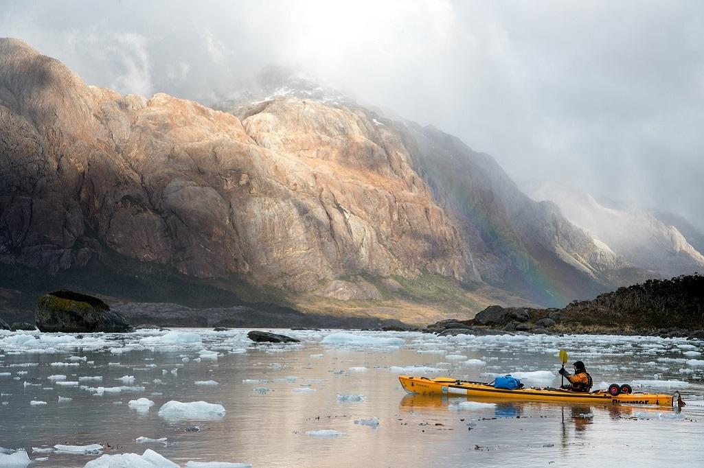 Christian Clot, en kayak en Patagonie