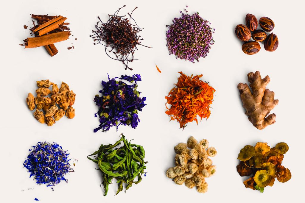 """Plantes médicinales : Cannelle (Sri Lanka), Queues de cerise (Turquie), Bruyère (Europe), Noix de muscade (Sri Lanka), Cactus """"Nopal"""" (Maroc), Mauve du Nord (Europe), Souci (France), Gingembre (Inde), Bleuet (France), Verveine odorante (France), Camomille romaine (France), Paliure (Europe)"""