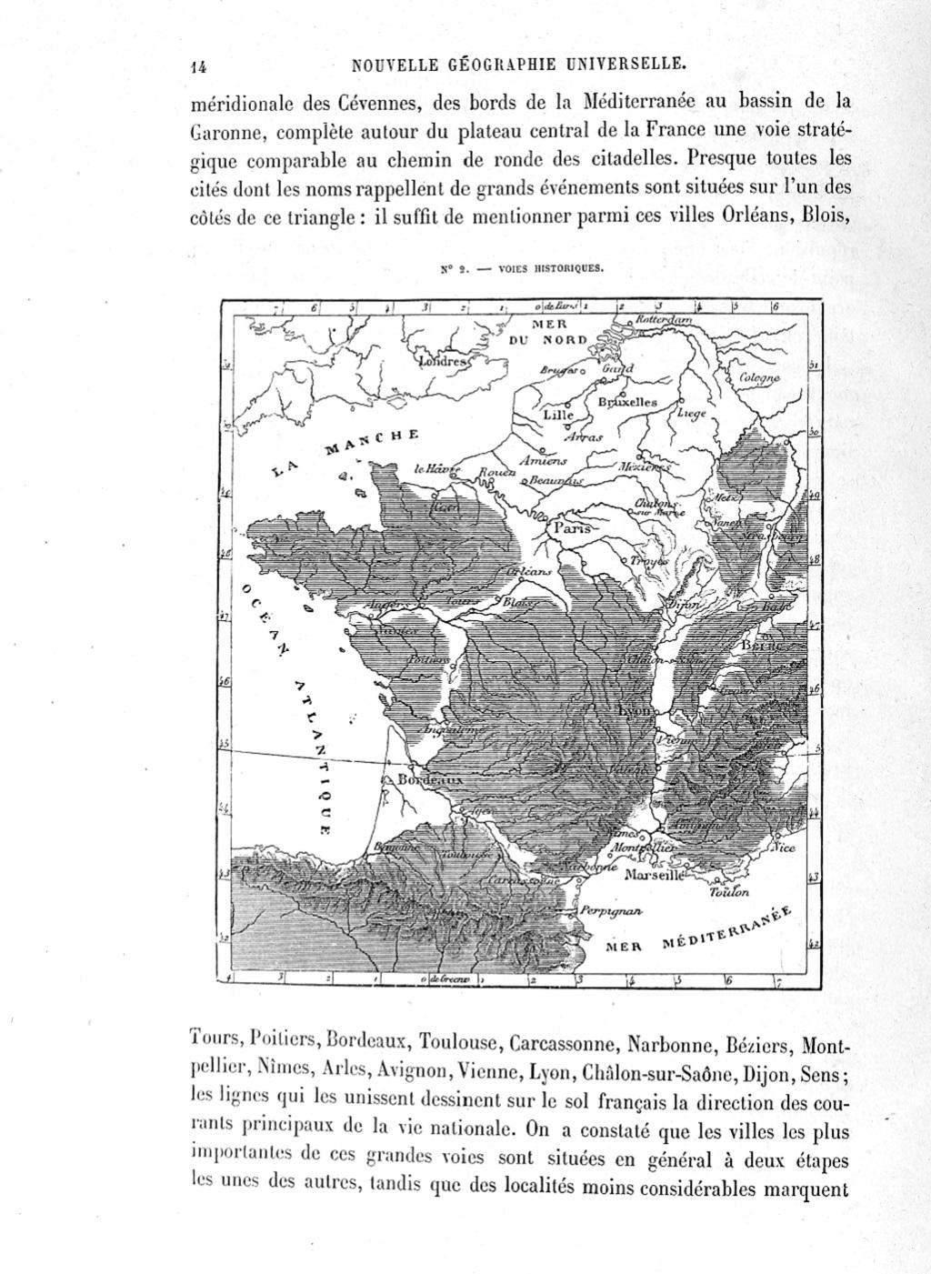 Carte des voies historiques de France publiée dans La Nouvelle Géographie universelle, livre II. - ©Nouvelle Ge´ographie universelle, livre II (E´lise´e Reclus, 1883 ed.)